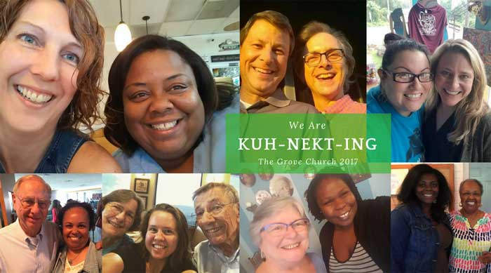 "Collage of happy faces and the words ""We are KUH-NEKT-ING The Grove Church 2017"""