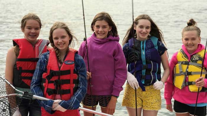 Group of girls with fishing gear